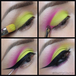 Steps: 1. Apply a primer and MAC 'bitter' eyeshadow all over the lid 2. Cut the crease with a hot pink liner and blend out with Sugarpill 'dollipop' eyeshadow 3. Line upper lash line with a black gel liner (my fav is Act 5 Cosmetics) 4. Bring liner into the waterline and smudge out, apply Red Cherry WSP lashes (x2), and add mascara :)  Facebook: Makeup by Starrly Twitter & Instagram: @StarrlyGladue