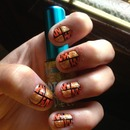 Tiger And Glitter Nails