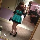 Mint green dress & studded heels