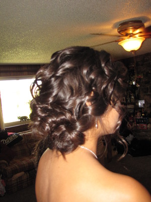 loose pined up curls on bridesmaid hair by me