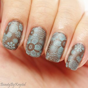 base color ELF Smoky Brown stamping color OCC Pool Boy http://www.beautybykrystal.com/2014/11/brown-blue-floral-nails-busygirlnails.html