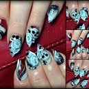 3D roses and skulls on acrylics