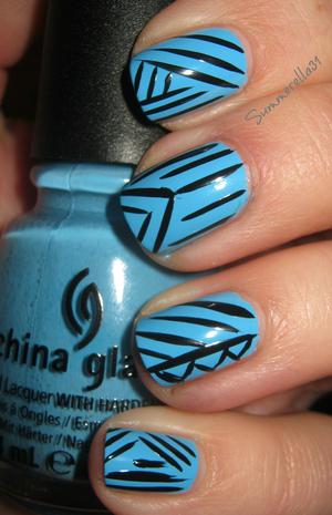 China Glaze Bahamian Escape and black nail art pen