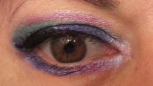 Lid winging out and outer lower lash line is Victorian Disco's Sailor Saturn. Above that is Chaos Cosmetics' Jynx. Above that and on the middle lower lash line is Spectrum Cosmetics' Iris. Inner corner and along the top edge of Iris to blend out is Spectrum Cosmetics' Sassy.