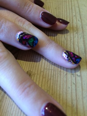 Stained Glass Nail Art, Red carpet manicure and sequins