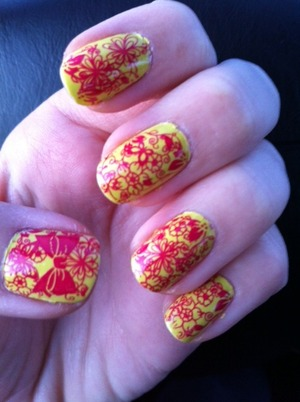 Konad Stamping China Glaze Heli-Yum on China Glaze Electric Pinapple