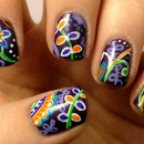 Vera Bradley Plum Crazy Inspired Nail Art