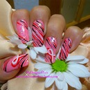 Breast cancer awareness nail design