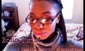 Boho Twist 3 Simple Hairstyles Tutorial EASY