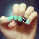Mint and Polkadot Nails