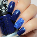 Blue Glitter Gradient Nails