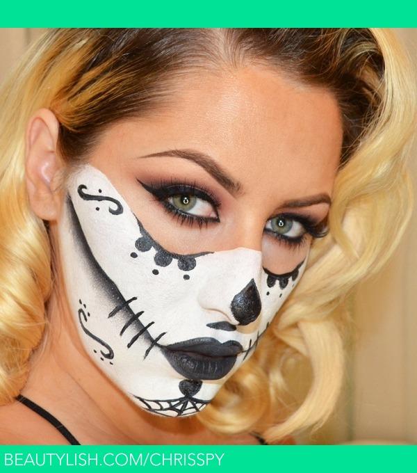sugar skull mask halloween look chrisspy cs chrisspy photo beautylish