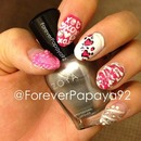 Valentine's Day Nails (Pink & Silver)