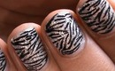 Shimmery Glam Zebra Nails - Short Nails Nail Art Designs How To and Art Design Nail Art Beginners