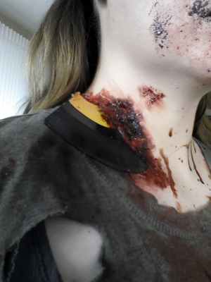 """My subtle homage to """"Shaun of the Dead"""", a fragment of a vinyl record embedded in my undead flesh. Part of my look for the Trash Film Orgy Zombie Walk in Sacramento."""