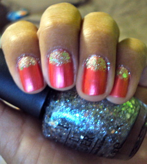 Spice up a moon mani by using glitter.