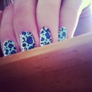 Blue half leapord nails