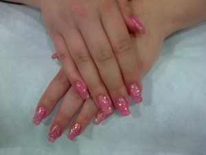 Nails done using Star Nails Pink Glitter Gel