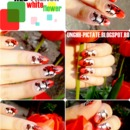 Red french nails with white flowers