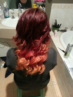 red  pink to orange ombre!!