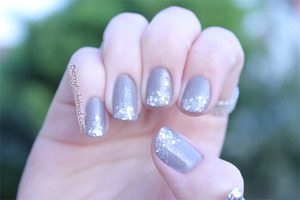 Glitter gradient nails January '12.  OPI French Quarter for Your Thoughts and Sephora by OPI Flurry Up
