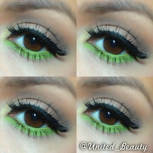 I love this fun look it is very simple I use warm/brown colors on my lid and with nyx jumbo pencik in milk undermy eyes yo us as a base for the green, the green eyeshadow is from a costal scents pallete If you try this look hastag me on instagram #united_beauty