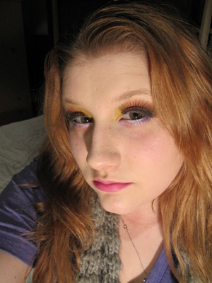 easter makeup, with dramatic lashes.