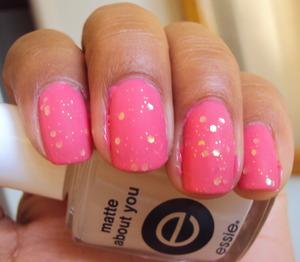 Matte nails - Sally Hansen Complete Salon Manicure in Shrimply Devine, Kleancolor in Sugar Coat, Essie Matte About You.