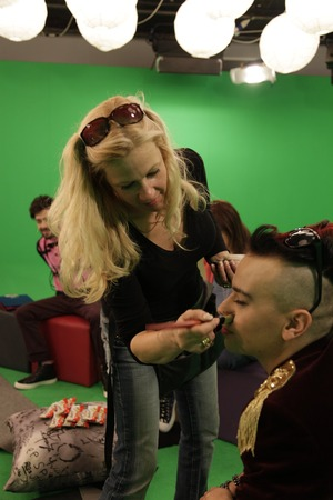 Here I am touching up Designer Indashio at MYV studios...check out the Green Screen
