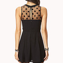 Black Mesh Polk Dot Skater Dress