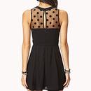 Black Mesh Polk Dot Skater Dress