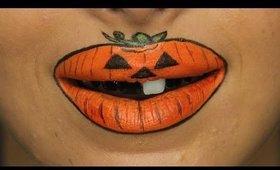 Jack O'Lantern Halloween Lip Art Tutorial ♥
