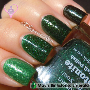 Inspired by the gemstone for May, I dugged out some of my greens for an emerald ombré. Polishes used (from top): ♥ a-england Tess D'Urbervilles ♥ China Glaze Glittering Garland ♥ piCture pOlish Kryptonite ♥ Pretty Serious VT100  More info on the blog: http://www.alacqueredaffair.com/piCture-pOlish-Kryptonite-some-30544611