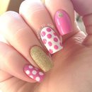 Pink Polka Dot Nails with Gold Accents