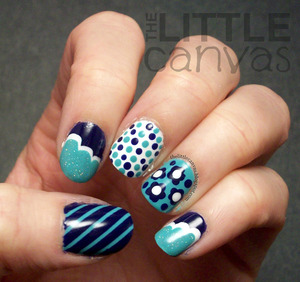 Copied a mani I saw by Young, Wild, and Polished - http://thelittlecanvas.blogspot.com/2013/03/kitchen-sink-mani-another-young-wild.html