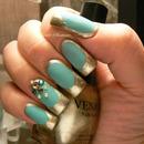 Venique / China Glaze/ Swarovski /   Blue Jade Matte  With Gold