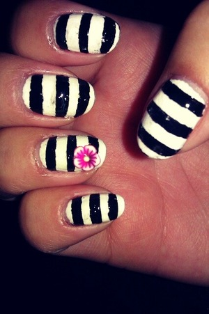 black and white stripes with a fimo flower!