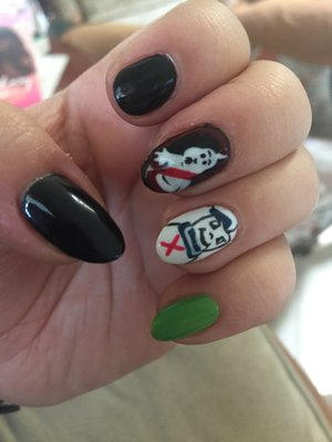 Nail art design with black, white, red and green gel. Ghostbuster nail design