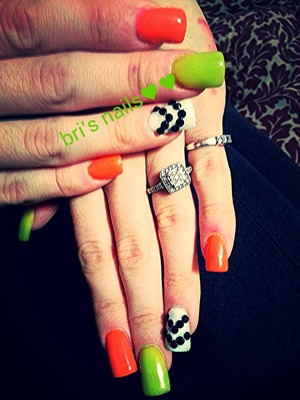 lime green and orange w/white acrylic and blk stones