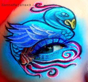 used BSC eyeshadows & neon glitters :)