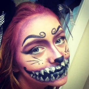 This cat makeup is inspired by the cat in alice the madness returns. Alice the madness returns is a game like alice in wonderland but in a bloodly and creepy way, like a alice in wonderland horror movie.