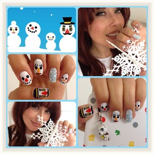 My new nail art was inspired by the Snow Family of Animal Crossing: New Leaf.