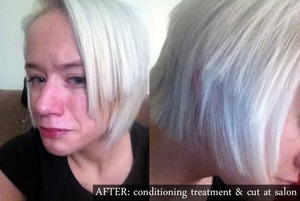 """This is how I had to have my hair cut after the Garnier Blow Dry Perfecter kit RAVAGED my soft, beautiful, white hair.  It stripped my hair completely, took out the toner, and I went to a great salon and this was the best they could do to retain as much hair as possible.  I've heard similar complaints once I posted this on facebook.  One of my friends, who owns her own salon, said one of her clients used it and her hair is """"jacked"""" and has been for quite some time.  It will take forever to get my hair's texture back, but until then I have had to have my hair hacked into like this.  Granted it wasn't styled, but it looks hideous.  I hate it.  DO NOT EVER USE THIS PRODUCT.  The salon took pity on me and lowered the prices on their services but it still cost me $30 for a conditioning treatment, $10 for the cut, and $10 for a tip.  I literally paid 10x as much as the product cost just to FIX my hair.  It still isn't totally fixed either.  I'm so upset."""