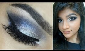Trendy makeup with Blue & Champagne