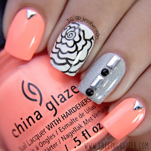 China Glaze- Flip Flop Fantasy and Butter London- Dodgy Barnett with studs and stamping