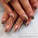 Gold Theme Red Green Nails