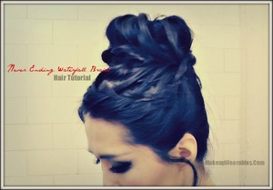 Here is how you can do this endless waterfall braid sock bun on your own hair ...   Link is below. (Copy/Paste it into your browser) <3    Makeupwearables.com/2013/03/how-to-never-ending-upside-down-french.html