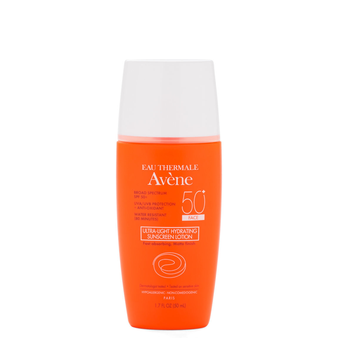 Eau Thermale Avène Ultra-Light Hydrating Sunscreen Face Lotion SPF 50+ product smear.