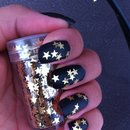 Black Mat Golden Star nails. 💅👑🎀