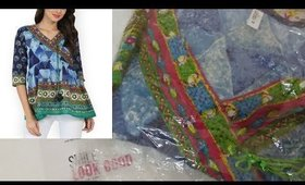 Unboxing Blue Printed Angrakha Tunic from Myntra I Western tops I
